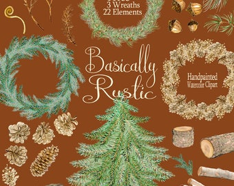 Woodland clipart rustic wreaths pine tree watercolor clipart evergreen pine cone log holiday acorn watercolour clipart Fall Winter Christmas