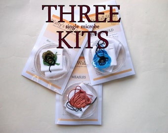 THREE Cross Stitch KITs -- any 3 microbe cross stitch kits, STDs, viruses, bacteria, prions, neurons, you name it