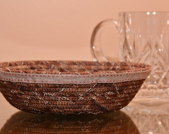Fabric Rope Coiled Basket Handmade: Brown Tan Brick - Round