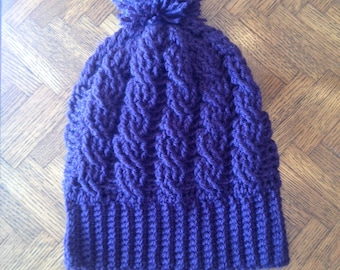 Cabled Slouchy Hat
