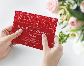 Red wedding invites Etsy