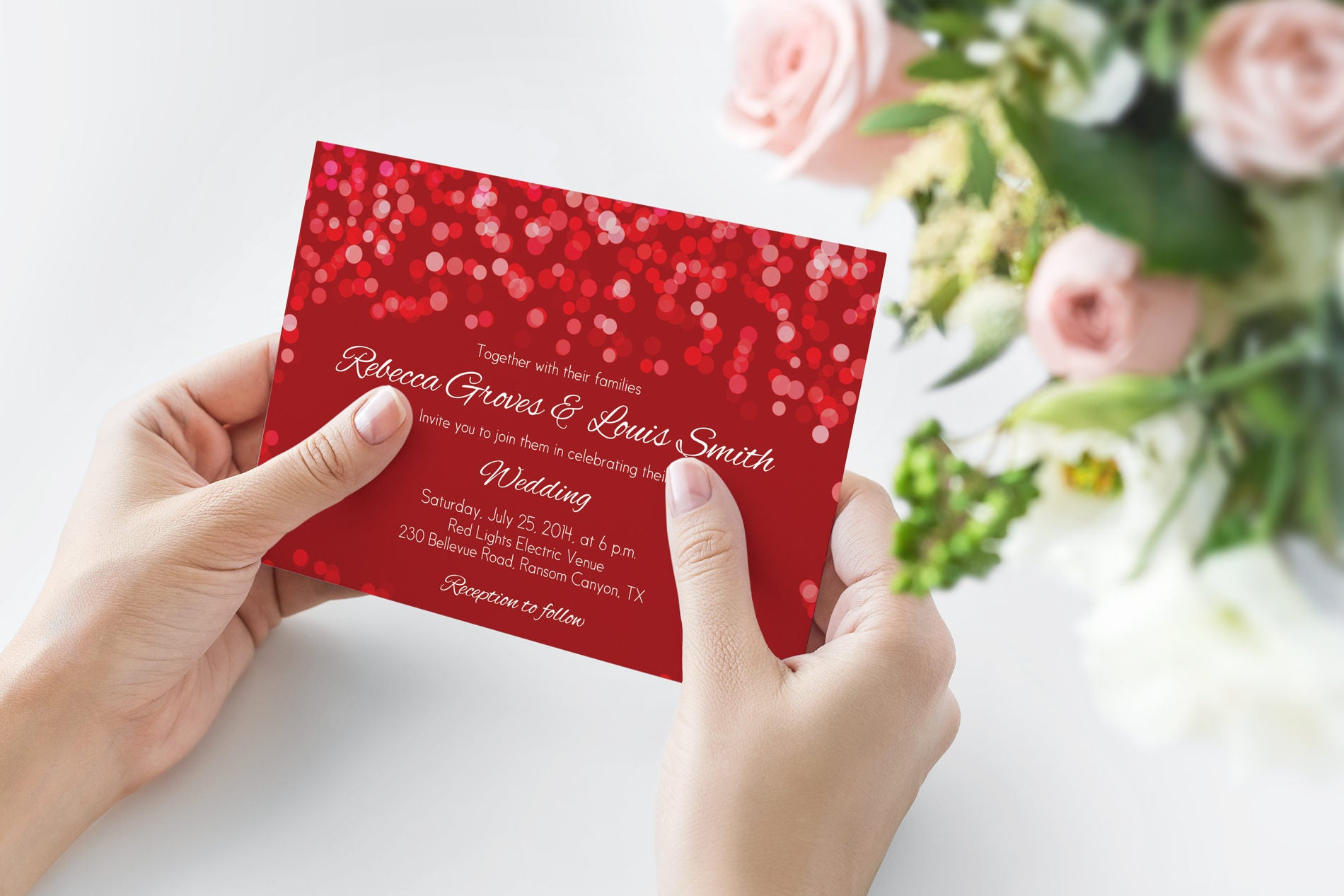 Printed Red Wedding Invitation Red Wedding Invitation