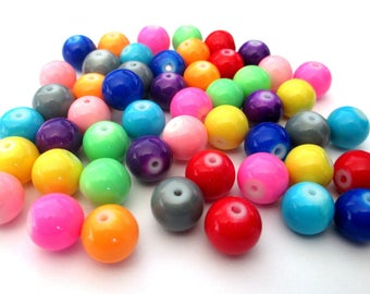 50 bead mix colored painted glass 10mm