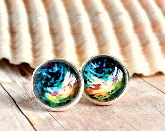 colorful post earrings, stud earrings, rainbow earrings, photo jewelry, gift for her, colorful jewelry