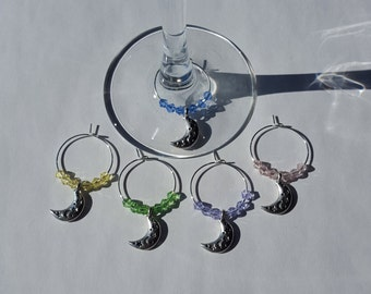 Crescent Moon Wine Charms