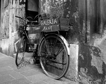 Digital Download, ''Galleria Anna, Bike'', black and white photography by Roger Pan