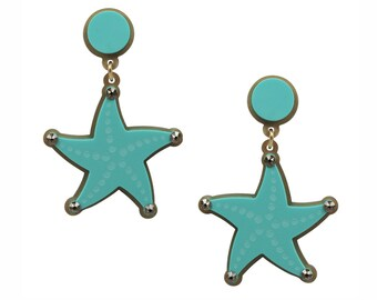 Reach for the Star Earrings in Aqua, perspex earrings, statement earrings, lasercut earrings