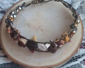 Beaded Geological Wire Cuff Bracelet