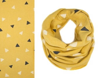Tumbling Triangles Infinity Scarf - Hand Printed Sweatshirt Fleece Circle Scarf in Pencil Gold White and Black