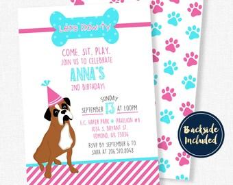 Puppy Birthday Invitation, Dog Birthday Invitation, Boxer Dog Invitation, Puppy Birthday Party, Dog Invitations