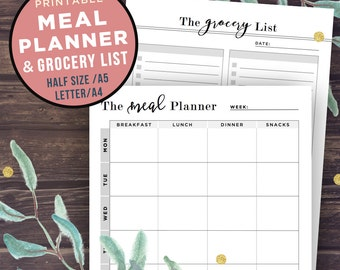 Meal Planner Printable, Weekly Meal Planner, Grocery list, Half Size, Filofax A5, A4 Letter, Menu Planning Notebook, Planner Inserts