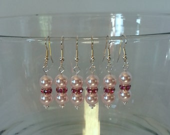 Rose Pink Swarovski Crystal and Pearl Bridal Earrings