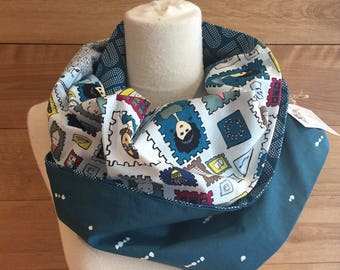 Scarf infinity patchwork stamp