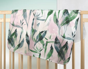 Watercolor Tropical emerald green baby fleece blanket - custom made for home decor, nursery, baby gift, baby shower gift, baby room decor