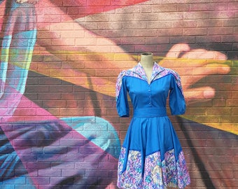 Vintage 1960s Blue Lace Overlayed Full Circle Dress (Size Small/Medium)