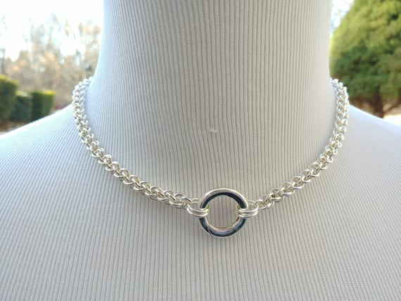 925 Sterling Silver Discreet Day Collar, Chainmaille BDSM Submissive Slave Collar with Non-Locking O Ring Push Gate Clasp, DDLG
