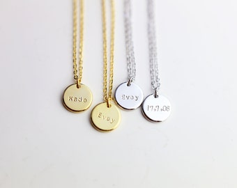 Personalized Name Necklace // Personalized initial disc necklace // Gift for mother // Bridesmaids Gift Necklace