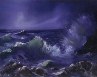 Moonlit Seascape Print of Oil on Canvas - A3 - Moonlit Sea