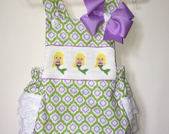 Hand Smocked Mermaid Beach Bubble with Matching Hair Bow