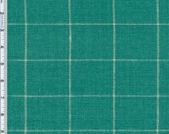 Jaded Teal Windowpane Plaid Home Decor Linen, Fabric By The Yard