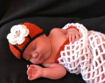 Newborn Crochet Basketball Hat and Net Cocoon, Handmade Crochet Photo Prop, Basketball Photo Prop