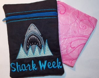 Shark Week Medium Zipper Bag with full PUL waterproof lining perfect for CSP, Moon Cup and standard disposable sanitary products.