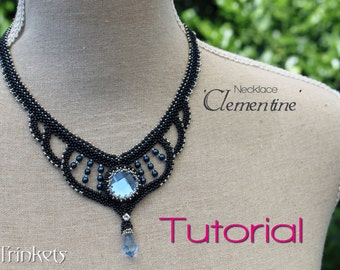 Tutorial for beadwoven necklace 'Clementine' - PDF beading pattern - DIY