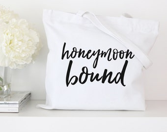 Honeymoon Tote Bag - Newlywed Tote - Bridal Tote Bags, Wedding Totes, Custom Tote Bags, Market Bag, Canvas Tote, Bachelorette Party