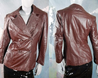 Women's Leather Jacket, 1970s Swedish Vintage Oxblood Brown Used Leather Jacket, Double Breasted: Size 8 US, Size 12 UK