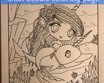 Chibi Narwhal mermaid Doodle Anime Manga Coloring Page for Adult Coloring PDF download by JennyLuanArt