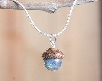 Real Acorn PENDANT with Labradorite + Sterling Silver handmade by Nuttier Than A Squirrel - green flash, moonstone, fairy, spectrolite, boho