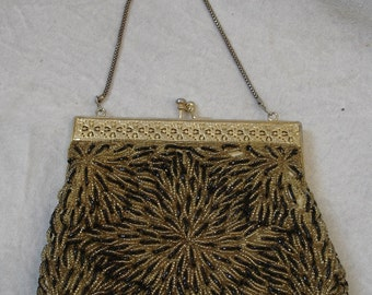 50s 60s Beaded Evening Bag, Clutch, gold & black, gorgeous and complex work, Rockabilly Germany