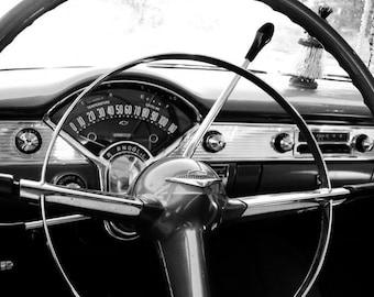 Black and White 1955 Chevrolet Bel Air | Mancave Decor | Classic Car Art | Retro Home Decor | Fine Art Photography