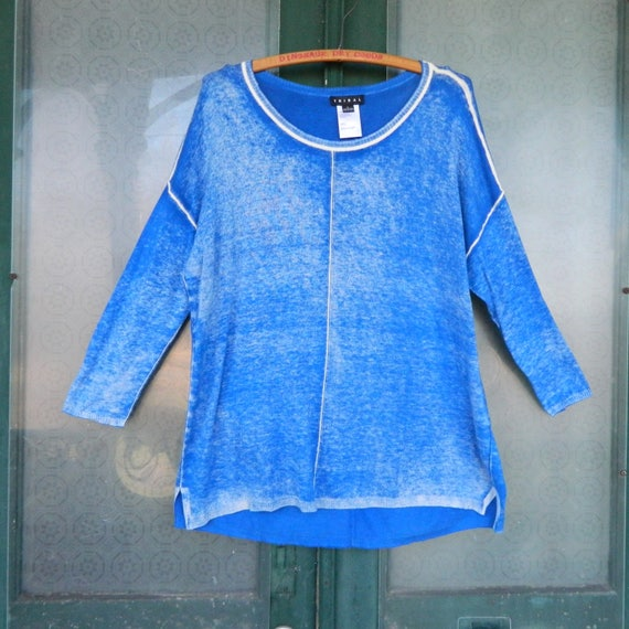Tribal Transitional 3/4 Sleeve Pullover Sweater -L- Distressed Blue Cotton/Viscose NWT