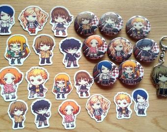 Persona 5 Gift Set, Persona 5 Bundle Set, anime gift set, anime bundle, holiday gift set, persona 5 charm, persona 5 pins, persona 5 sticker