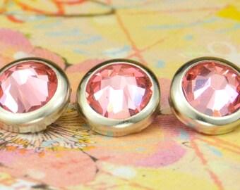 10 pêche Rose cristal cheveux boutons pressions - rond bord d'argent édition--faite avec des strass Swarovski Element