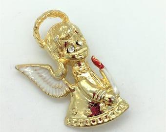 Vintage IVV Gold Tone & Enamel Angel Holding Candle Brooch