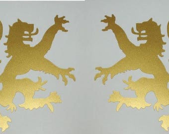 Scottish heraldic lion gold vinyl decals