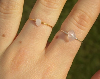 Dainty Rose Quartz Ring (with Silver/Gold Plated Wire)