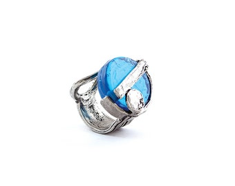 Blue ring made of fine pewter and glass - Handmade - EUCARIS BLUE (LUV Collection)