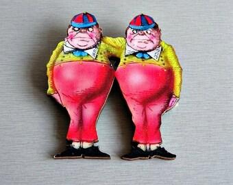 Tweedle Dum and Tweedle Dee Wooden Brooch