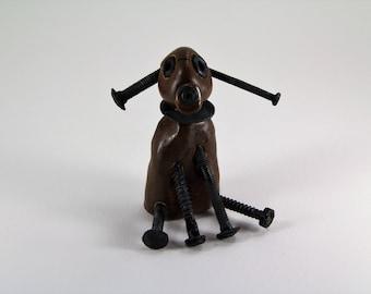 screwy dog, bolt dog, ceramic dog, handmade dog, dog figurine, brown dog, dog