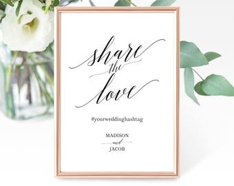 Share the Love Sign Template, Wedding Hashtag Sign Template, Printable Hashtag Sign, Editable Hashtag Sign, PDF Instant Download, MM07-1B