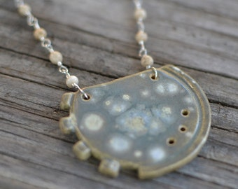 cog necklace v2 - agate and sterling silver with ceramic pendant
