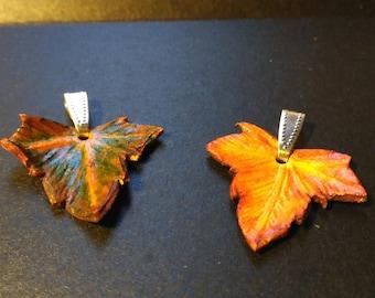 Elegant tiny ivy leaf pendant. Wrought Leather