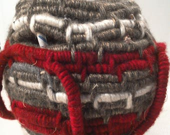 Gray and Red Coiled Basket