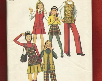1972 Simplicity 5225 Girls Vest Pleated Skirt and Pants with Cuffs UNCUT Size 12