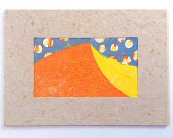 linocut - DUNE // 5x7 art print // printmaking // block print // desert art // sand // red, orange , yellow // nature art // wall art