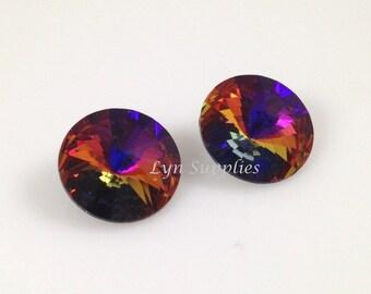 1122 VOLCANO 14mm Swarovski Crystal Round Rivoli, 4 pieces