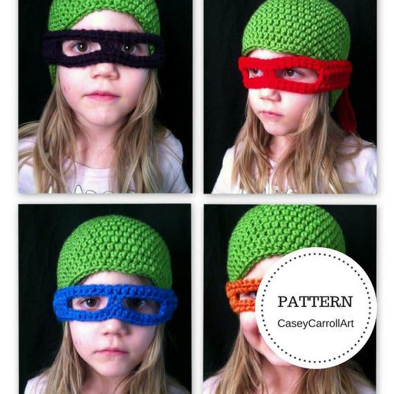 Tmnt Inspired Hat Masks Pdf Crochet Hat Pattern Sizes